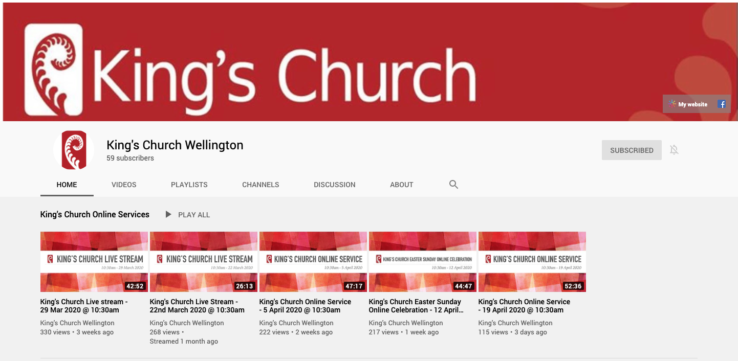 King's Church Wellington Youtube Channel